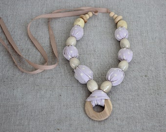 Fabric Necklace Lilac Cream Polka Dot Fabric Covered Beaded Necklace Eco friendly wooden Bead necklace, Mother's Day Gift Christmas Gift