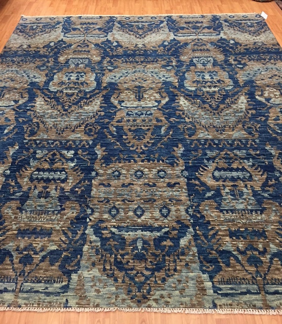 "8' x 9'10"" Soft Melody Indian Oriental Rug - Modern - Hand Made - 100% Wool"