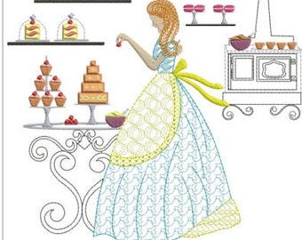 Southern belle baking instant machine embroidery download 3 different sizes