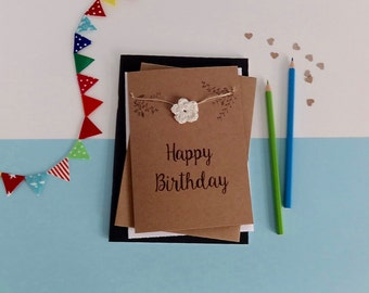 Happy Birthday card - Rustic birthday card- Floral Birthday card - Brown card