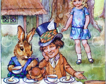 Sweetest ALICE At MAD HATTER Tea Party Rare Illustration Vintage Alice in Wonderland Drawing Art Deco Alice Digital Download