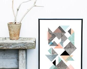 Scandinavian Poster, Art Print, Textured Art, Triangle Print, Geometric Art, Abstract Art , Giclee print, Wall Art, Gallery Wall Prints