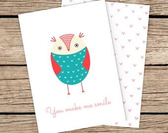 You Make Me Smile Owl Card, Owl Greeting Card, Bird Card, Card for Friend, Owl Note Card, Birthday Card, Funny Owl Card, Owl Blank Card.