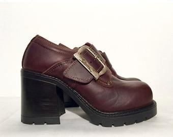 Vtg Gordon Jack Leather Chunky Heel Brown Platform Shoes