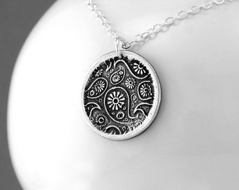 Wax Seal Paisley Pendant Necklace - Fine Silver Jewelry - Sterling Silver Hippie Necklace - Boho Indie Jewelry - Paisley Necklace