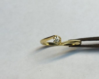 14 kt solid gold Diamond solitarie ring /promise ring/ engagement ring/14kt  gold ring/diamont ring /woman jewelry .