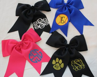 Monogrammed Ponytail Cheer Hair Bows