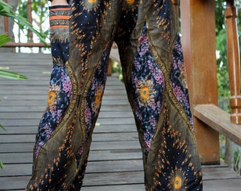 peacock pants hippie pants hobo pants harem pants unisex black