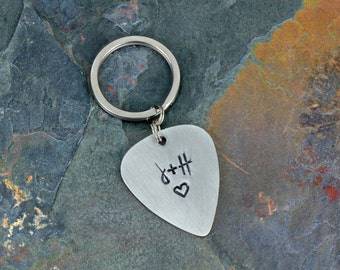 Guitar Pick Keychain - Personalized Guitar Pick Keychain Hand Stamped Guitar Pick Custom Guitar Pick Personalized Keychain Anniversary Gift
