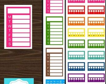 Weekly Habit Tracker Boxes Stickers Erin Condren Planner Printable PDF Digital Download #P007