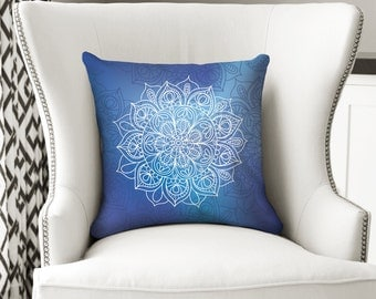 Mandala Bohemian Boho Throw Pillow. Cushion Case. White Purple and Blue Pillow Case. 16 inches 18 inches 20 inches