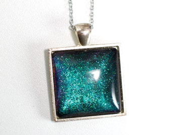 Pendant Teal Galaxy (square)