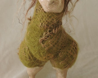 Unique Burlap Felted Bird with  Hair, Decorative Needle Felted Animal in a Clay Mask for your Home Décor, Collectable Felted Figures