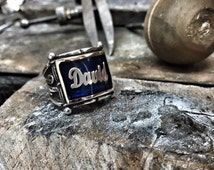 personalized mens ring blue opal ring enamel handmade mens ring vintage mens ring silver mens ring unique sterling silver ring mens jewelry