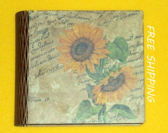 wooden box, sunflower print wooden box, decoupage box