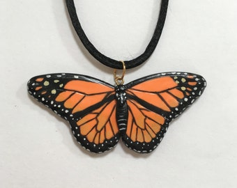 Hand-painted Monarch Butterfly Pendant, Insect Wildlife Jewellery, Orange and Black Necklace