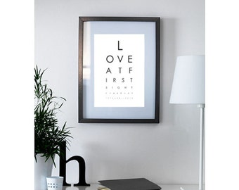 Personalised Optician Chart - engagement, wedding, new home, birth announcement