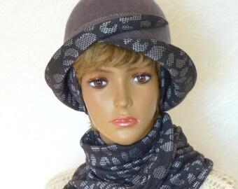 Felt hat and scarf, Grey Hat, Women's felt hat, Felt accessories, Set felt accessories, Gray scarf, Women scarf, Wool hat, Warm cap