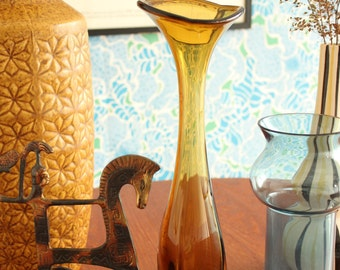 SALE! Aseda Bo Borgstrom Amber Glass Vase, Yellow Glass, Vintage, Trumpet Style