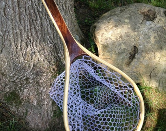 Wood landing net, fishing net, fly fishing net, handcrafted fishing net, custom trout net, black walnut, ash, wood net