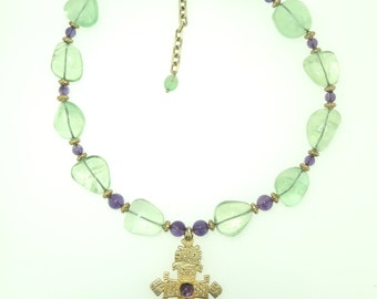 Flourite and Amethyst with ethiopian cross pendant