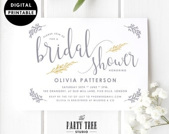 Bridal Shower Invitation , Bridal Shower Invite , Gold and Gray , Bridal Shower Gold Calligraphy , 5x7 , A6 , Gold Gray White