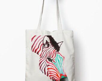zebra tote bag, tote bag, canvas tote bag, animal tote