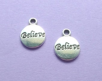 10 Believe Word Circle Charms Silver - CS2121
