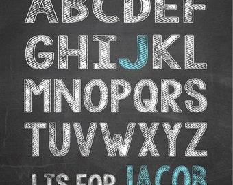 Alphabet NAME Print Chalkboard Poster for Nursery or Child's Room Boy or Girl