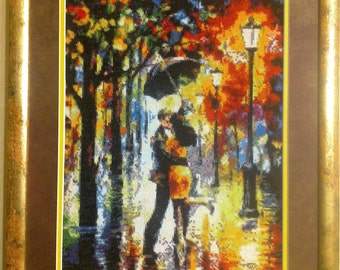 Сross stitch picture, completed picture, complete cross stitch, handmade, needlework, wall decor, handmade gift, Warm rain