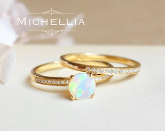 14k18k solitaire opal engagement ring set simple gold opal ring with diamond - Opal Wedding Ring Sets