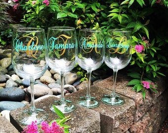 Bridesmaid wine glasses | Etsy