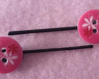 Adorable Pink Flower Button Hair Pins