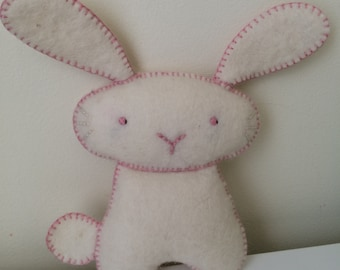 Hand Made, Stitched, Wool Felt Ivory Bunny Rabbit Decor for Nursery or Children's Room