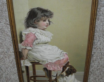 "Beautiful Old 1895 Victorian Lithograph Print "" In Disgrace "" by Charles Burton Barber in Gorgeous Old 1/2 Yard Long Frame with Old Glass"