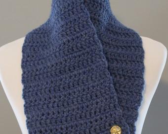 Medium Blue Scallop Edge Cowl, Button Cowl, Winter Cowl, Chunky Cowl, Crochet Cowl, Wool blend Cowl