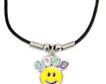 2000's Smiley Face Necklace, 90's, Grunge, 90's Grunge, Kawaii, Pastel Goth, Cyber, Club Kid, Seapunk, Tumblr, Early 2000's