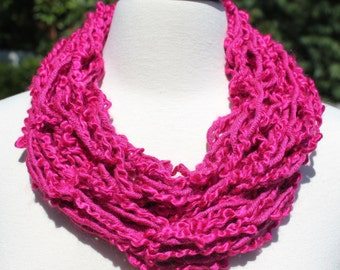 Dark Rose Textured Single Loop Arm Knit Infinity Scarf
