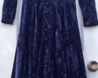 Vintage Crushed Velvet Dress Blue Victorian Goth Grunge Boho Gypsy Steampunk Dress Size Medium