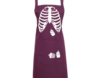 Halloween Cupcake Ribs Apron with a Pocket Full of Cupcakes- Trick or Treat - 16 Colours - Baking Apron, kitchen apron, skeleton - 1017