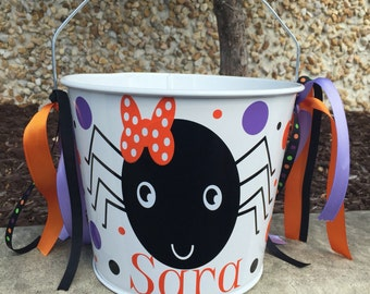 Halloween Bucket-Personalized trick or treat pail-candy pail- spider bucket- candy bucket- girl's trick or treat basket- candy treat