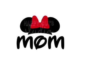 Mom Mickey Minnie Mouse Ears Bow Classic Red Disney Vacation Cruise Cheer Matching Family Mom Dad Disney Iron On Decal Vinyl for Shirt 010