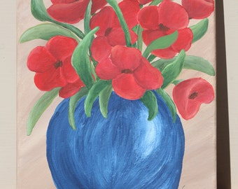 Bright Red Poppies in Blue Vase: Original Acrylic Painting on Stretched Canvas, 8x10 inches