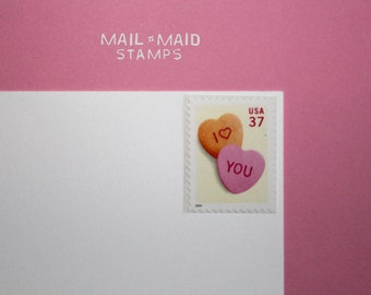 Candy hearts love stamp || 10 unused vintage postage stamps