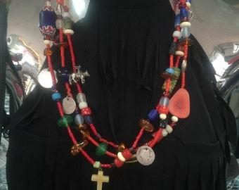 Navajo Treasure Necklace, Vintage Native American Necklace, Navajo Jewelry, Native American Jewelry, Navajo Necklace, Coin Necklace, Cross