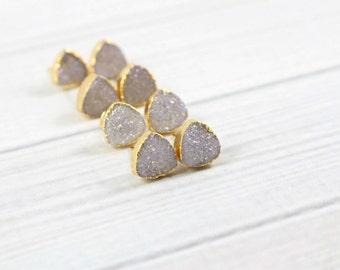 Druzy Earrings, Triangle Earrings, Druzy Stud Earrings, Post Earrings, Gold Earrings, Minimalist Earrings , Gift for Friend, Minimal