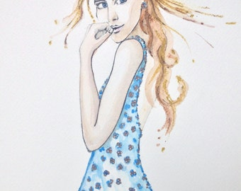 Watercolour Fashion Illustration Titled Blue Garnish with Free Shipping Standard Delivery