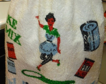 Vintage 1950's Blue and White Terry Skirt Apron Best Cook