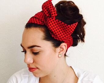 Black Polka Dotted Twisty Headband