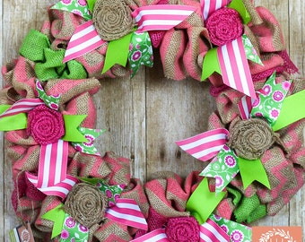 Pink Striped Ribbon Wreath, Pink and Green Wreath, Burlap Wreath, Burlap Flower Wreath, Ribbon Wreath, Home Wreath, Pink Wreath, Wreath